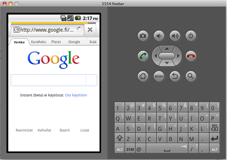 android emulator chrome