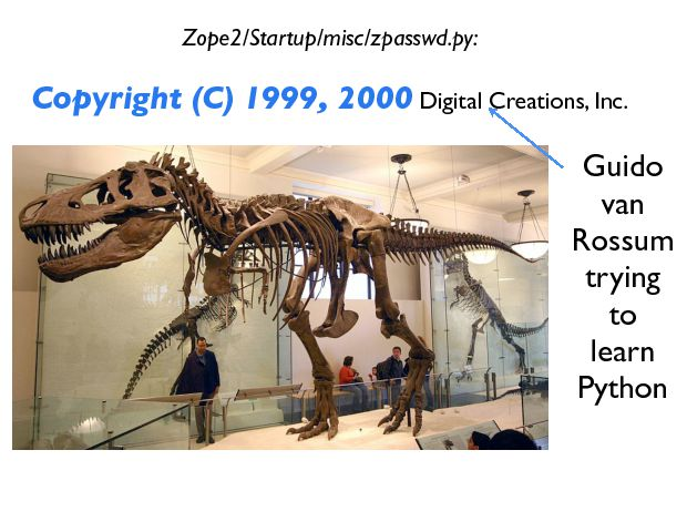 Zope2/Startup/misc/zpasswd.py: Copyright (C) 1999, 2000  Digital Creations, Inc. Guido van Rossum trying to learn Python