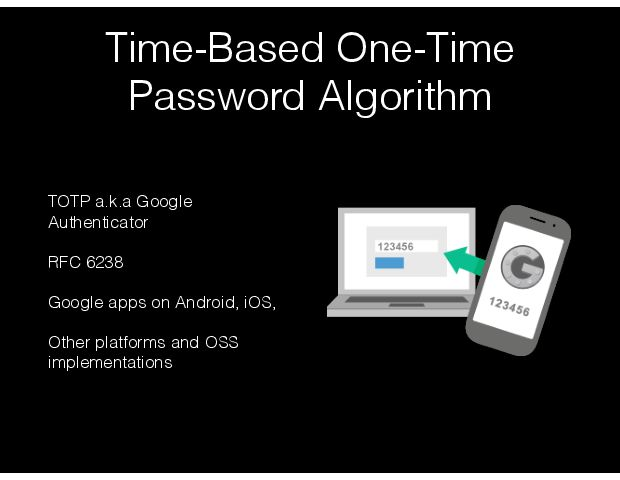 Time-Based One-Time Password Algorithm TOTP a.k.a Google Authenticator RFC 6238  Google apps on Android, iOS,  Other platforms and OSS implementations