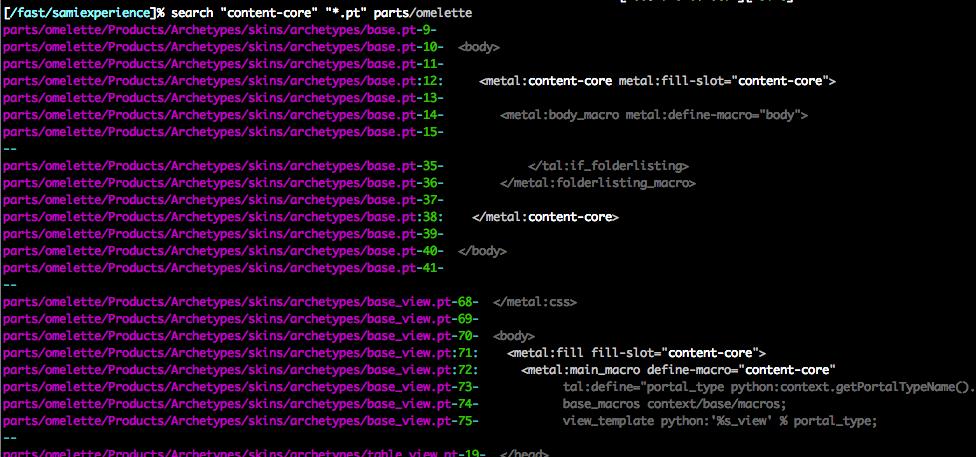 Power searching using UNIX grep