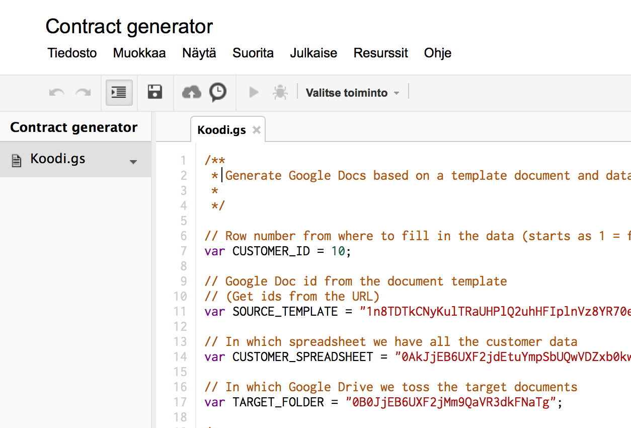 Script for generating Google documents from Google