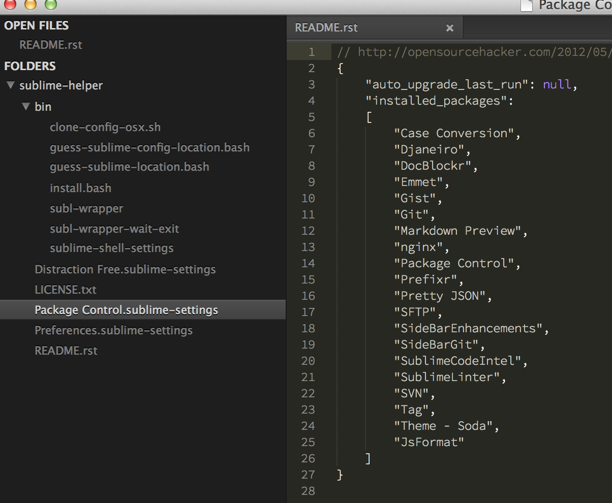 Exporting and sharing Sublime Text configuration