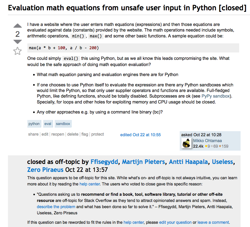 Safe evaluation of math expressions in pure Python